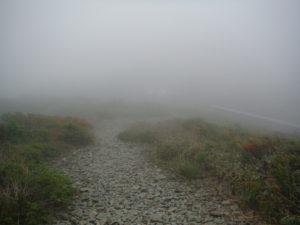 御霊櫃峠で流れてきた雲に飲み込まれた後
