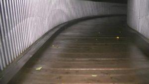 鹿児島県出水市の東光山公園にある歩道橋を渡っている時の様子