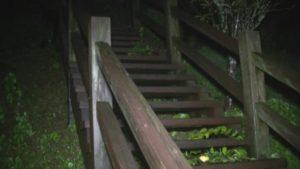 鹿児島県出水市の東光山公園の木でできた階段