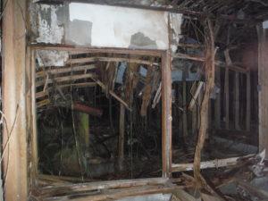小川脳病院の朽ち果てた木造部分の様子