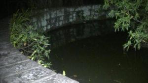 幸福楽園廃墟の池を夜に見た様子